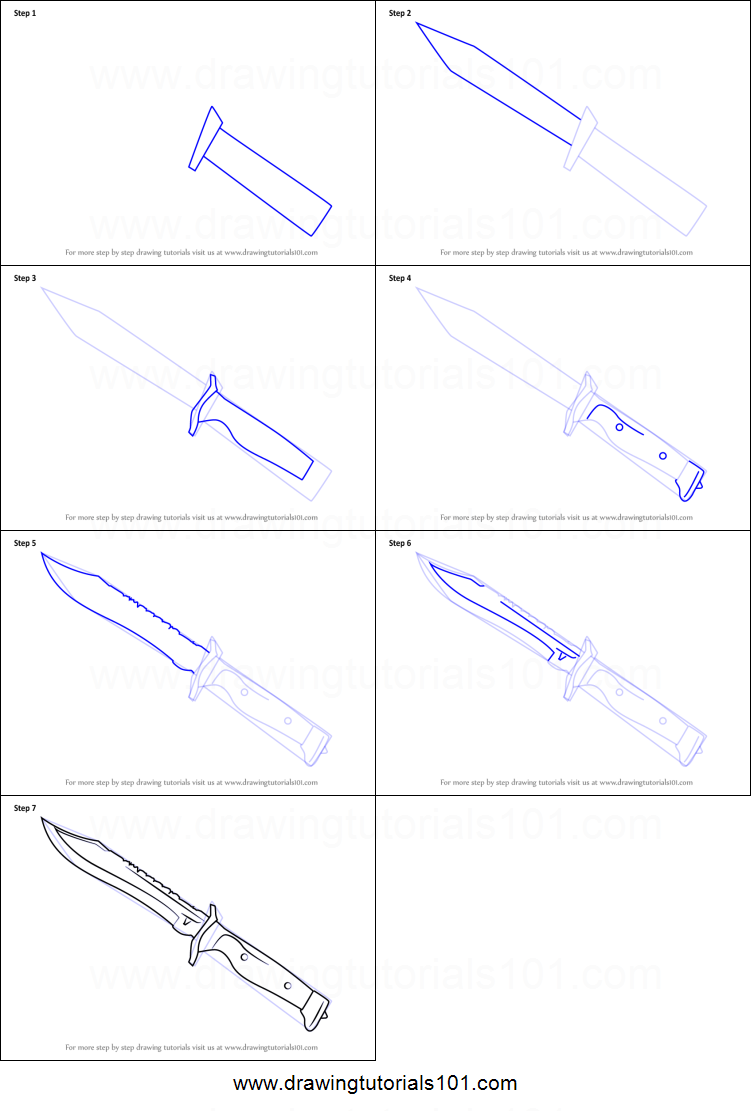 knife drawing step by step - 751×1111