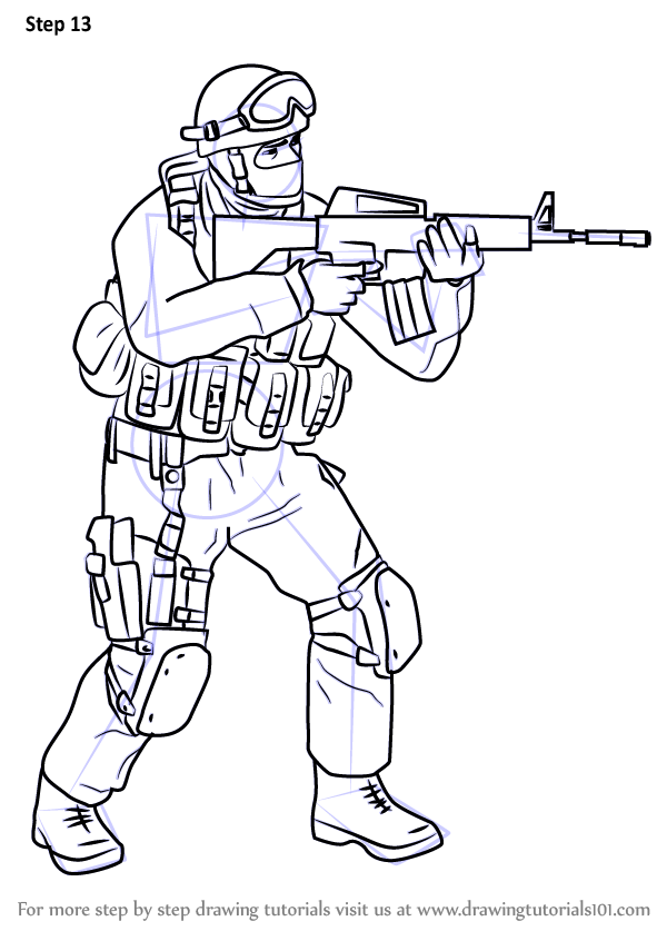 Learn How To Draw Counter Terrorist From Counter Strike Counter
