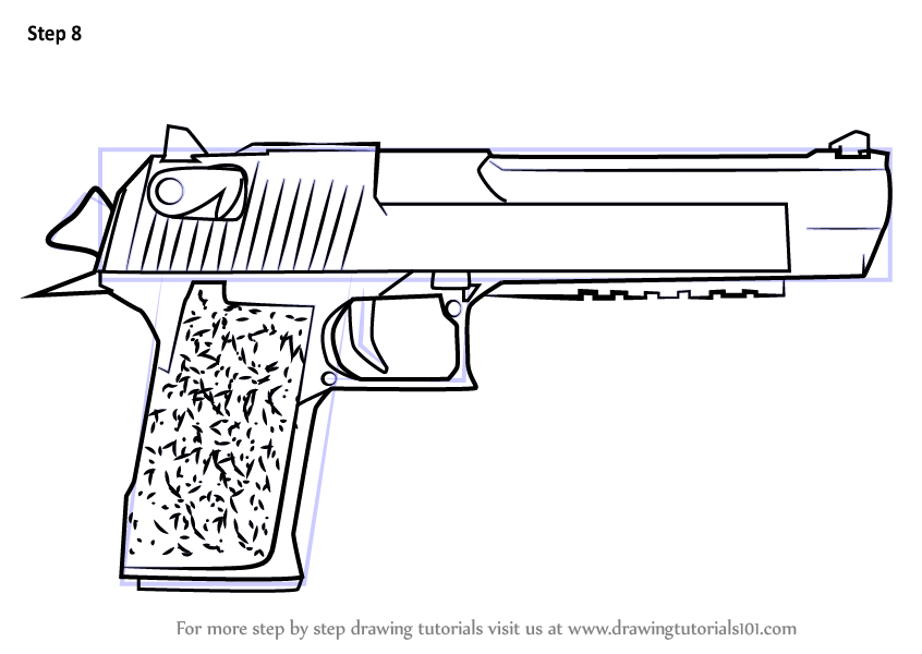 Learn How to Draw Desert Eagle from Counter Strike (Counter Strike) Step by Step : Drawing Tutorials