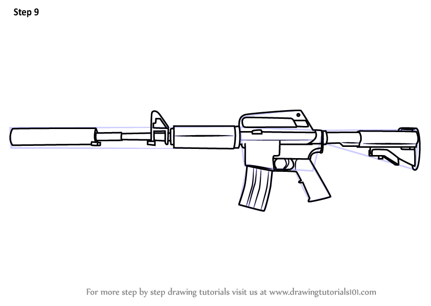 Learn How To Draw M4a1 From Counter Strike Counter Strike