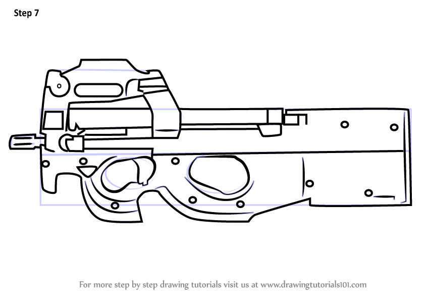 Step By Step How To Draw P90 From Counter Strike