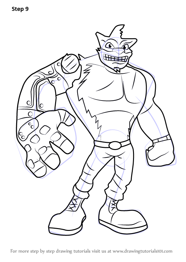 Learn how to draw crunch from crash bandicoot crash for Crash bandicoot coloring pages