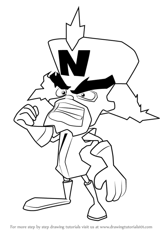 Learn how to draw doctor neo cortex from crash bandicoot for Crash bandicoot coloring pages