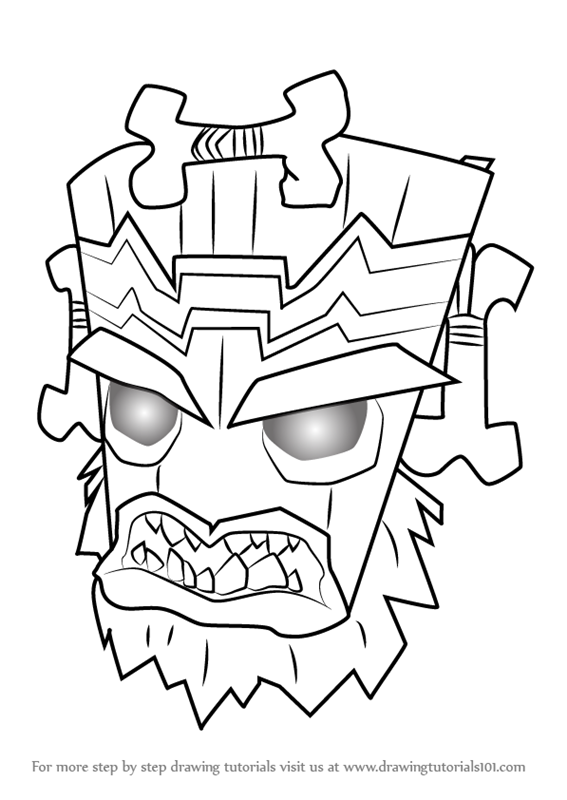 Learn How To Draw Uka Uka From Crash Bandicoot Crash