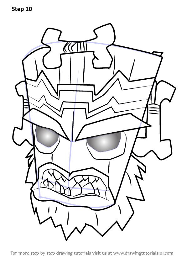 Step by step how to draw uka uka from crash bandicoot for Crash bandicoot coloring pages