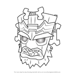 How to Draw Uka Uka from Crash Bandicoot