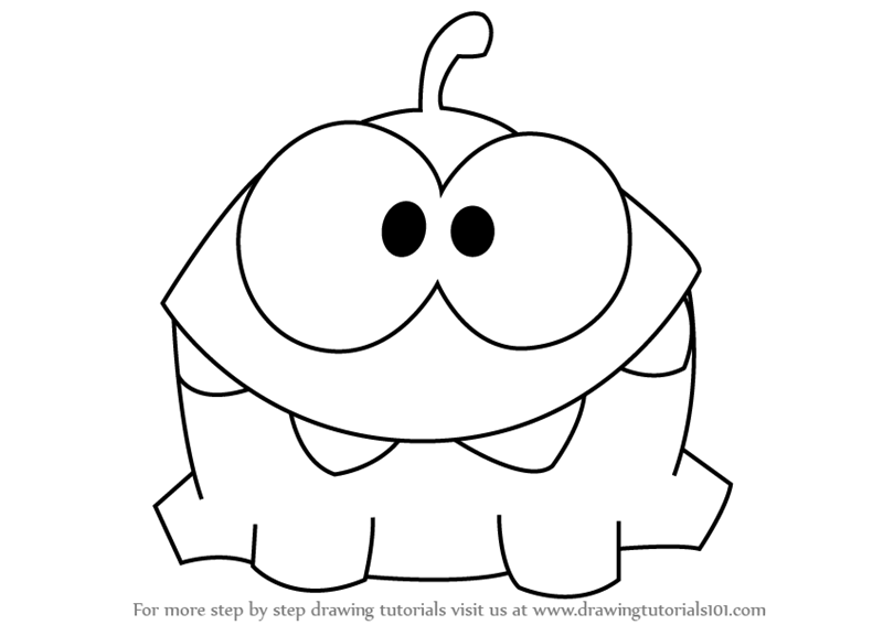Step by Step Drawing tutorial on How to Draw Om Nom from Cut the Rope
