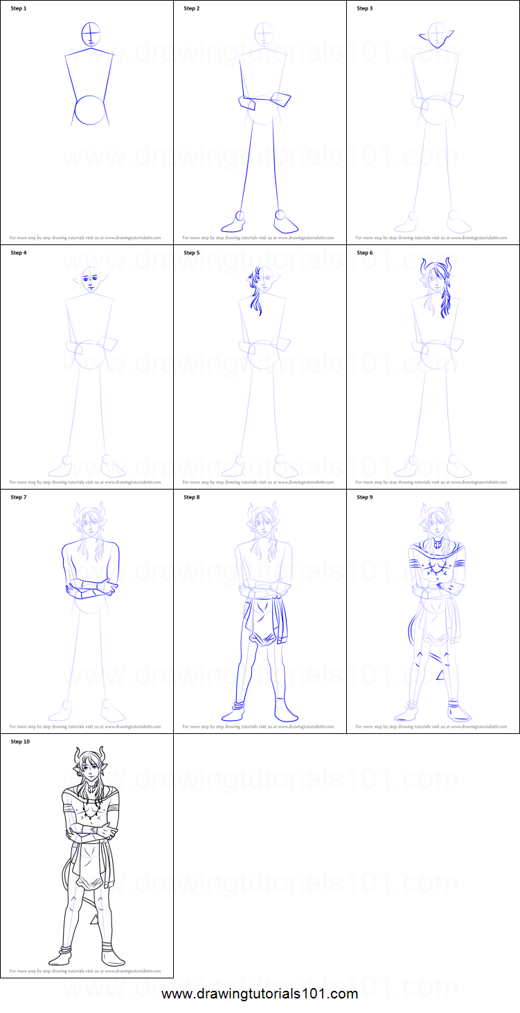 How To Draw Kael From Cute Demon Crashers Printable Step By Step