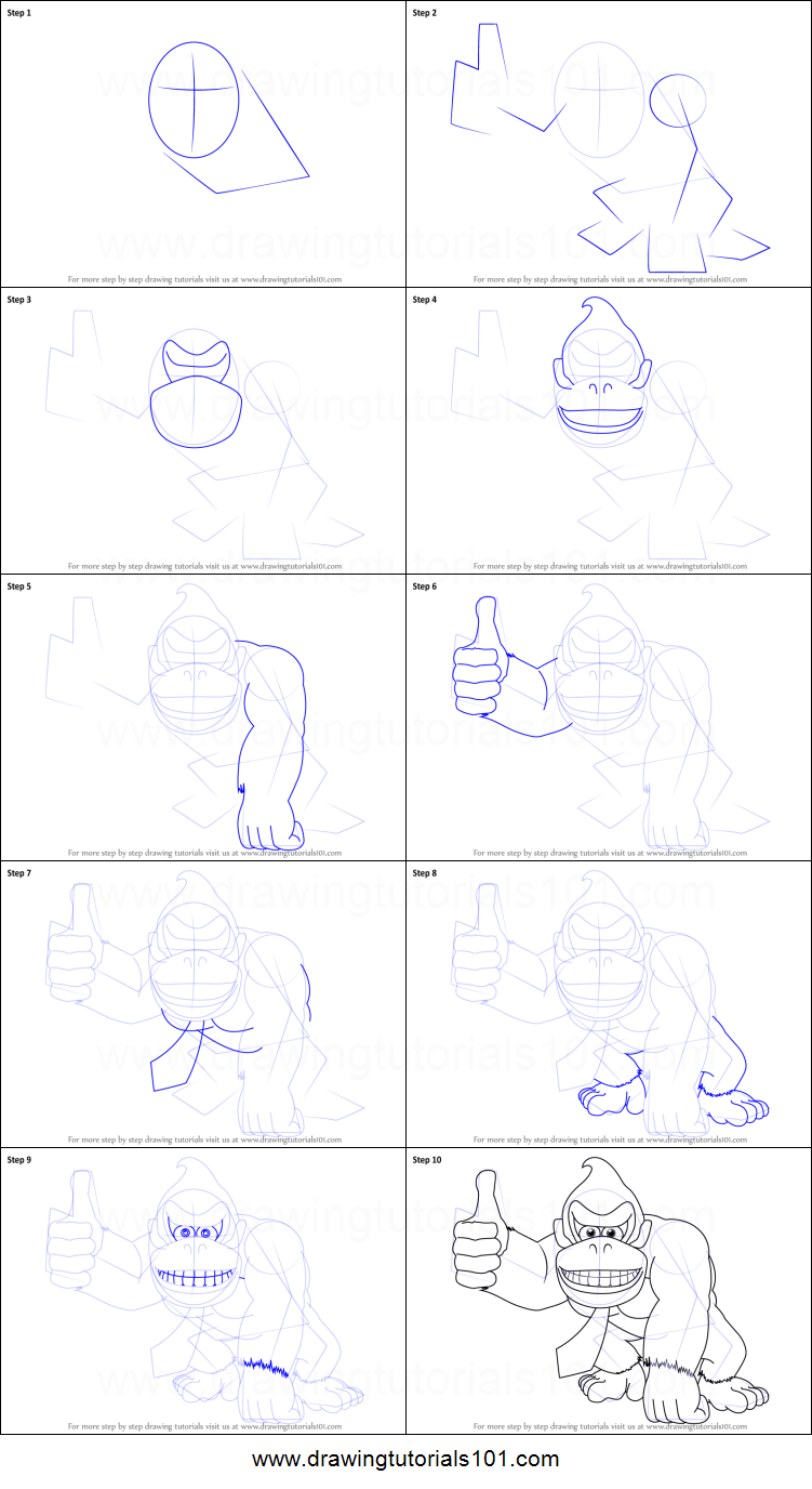 How to Draw Donkey Kong printable step by step drawing ...