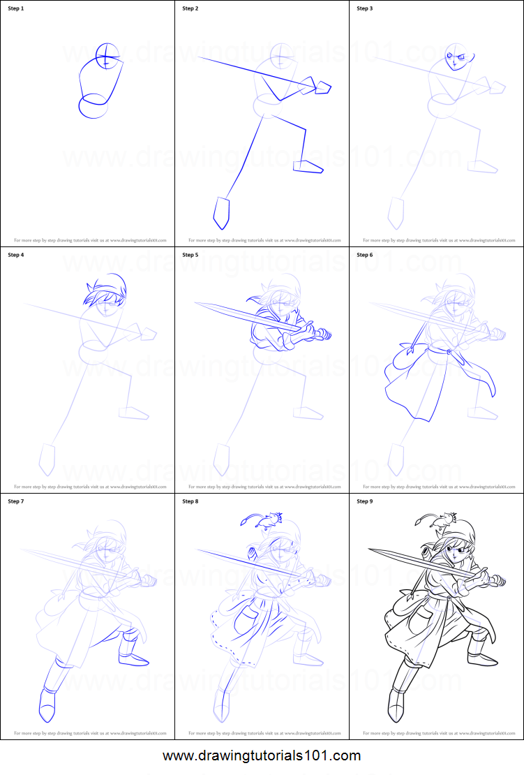 Scribble Drawing Quest : How to draw hero from dragon quest viii printable step by