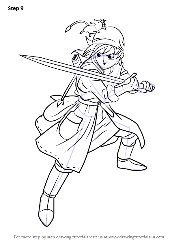 Scribble Drawing Quest : Learn how to draw hero from dragon quest viii