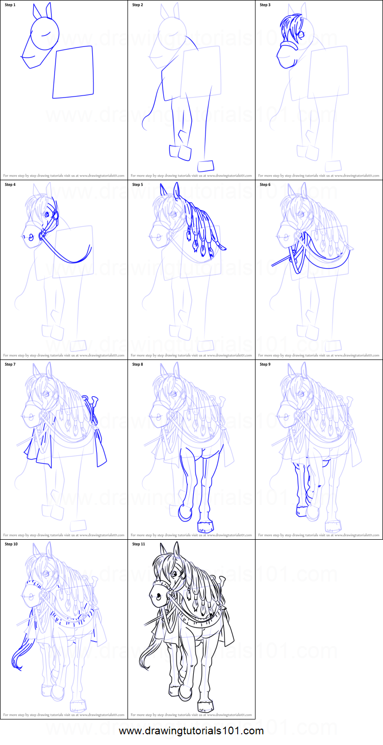 Scribble Drawing Quest : How to draw princess medea horse from dragon quest viii