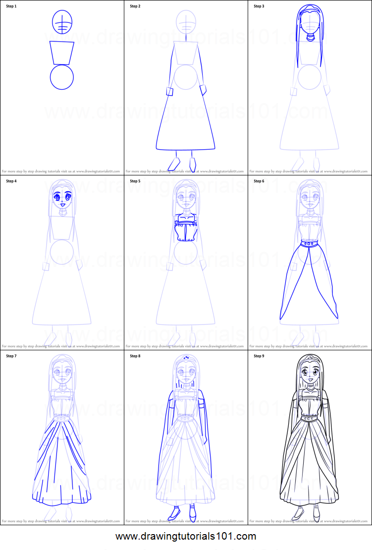 Scribble Drawing Quest : How to draw princess medea from dragon quest viii