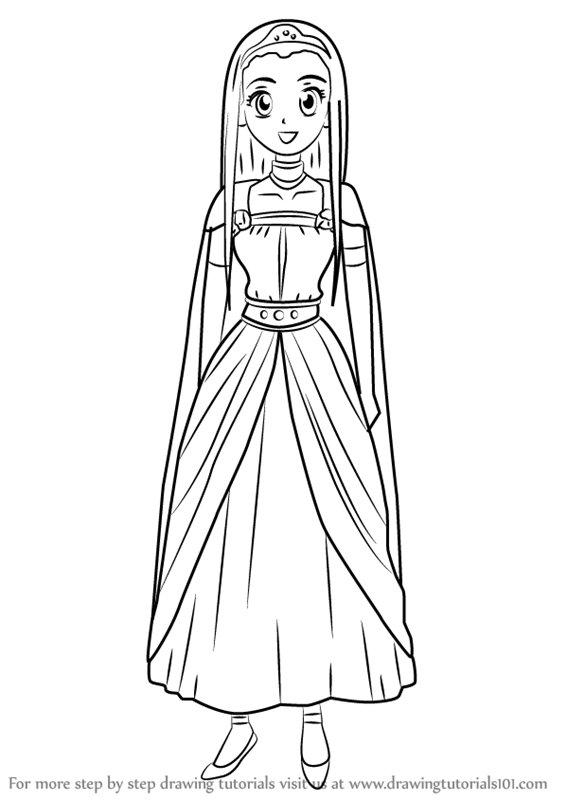 Scribble Drawing Quest : Learn how to draw princess medea from dragon quest viii