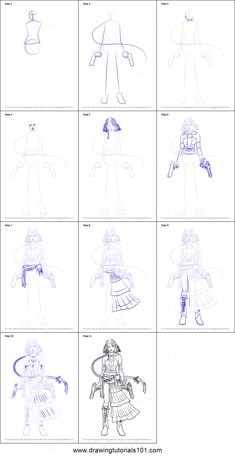 How To Draw Yuna From Final Fantasy X Printable Step By Step