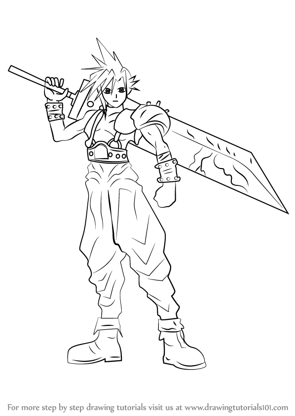 cloud final fantasy seven coloring pages | Learn How to Draw Cloud Strife from Final Fantasy (Final ...