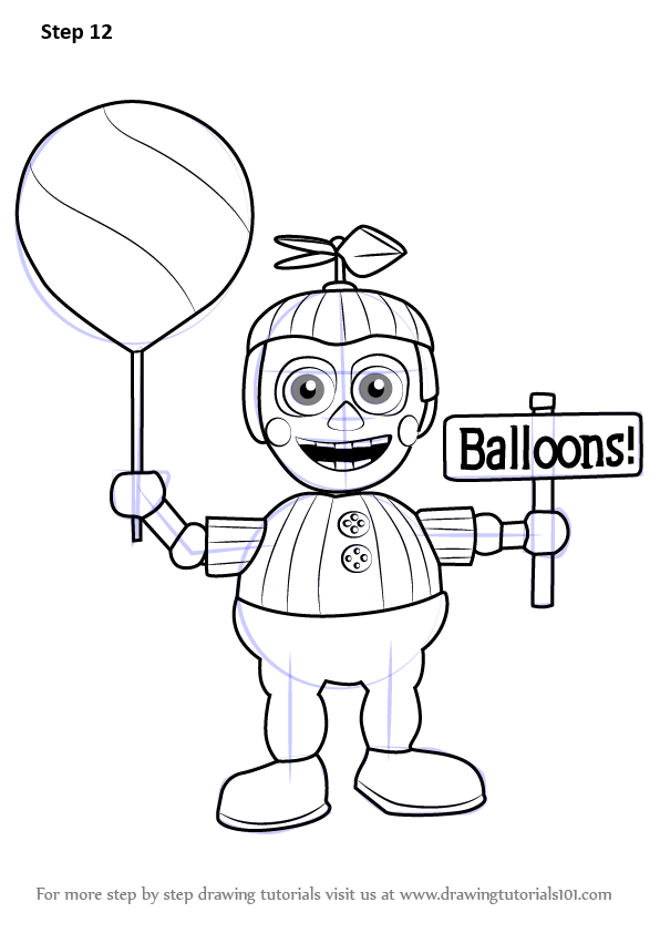 Learn How To Draw Balloon Boy From Five Nights At Freddys Five Nights At Freddys Step By