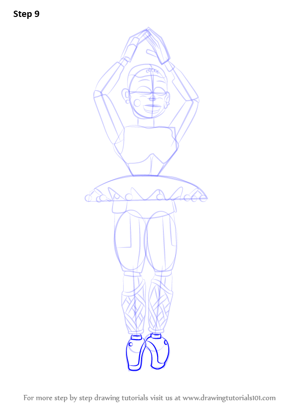 Step By Step How To Draw Ballora From Five Nights At