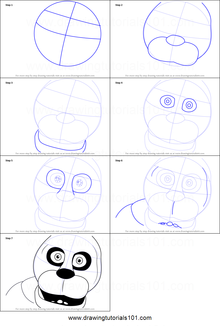 How To Draw Bonnie Face Printable Step By Step Drawing Sheet How To Draw A  Face