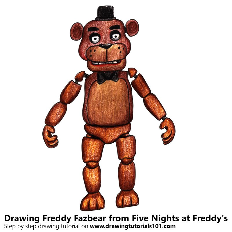 Freddy Fazbear Color Pencil Drawing