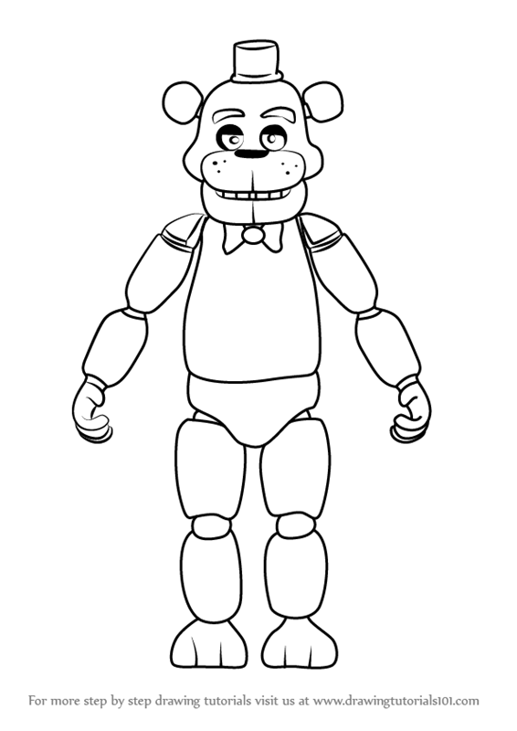 coloring pages five nights at freddy s 3 - learn how to draw freddy fazbear from five nights at