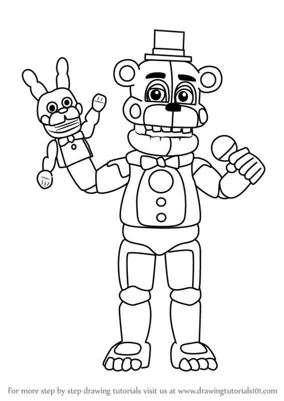 Learn How To Draw Funtime Freddy From Five Nights At Freddy S Five Nights At Freddy S Step By Step Drawing Tutorials