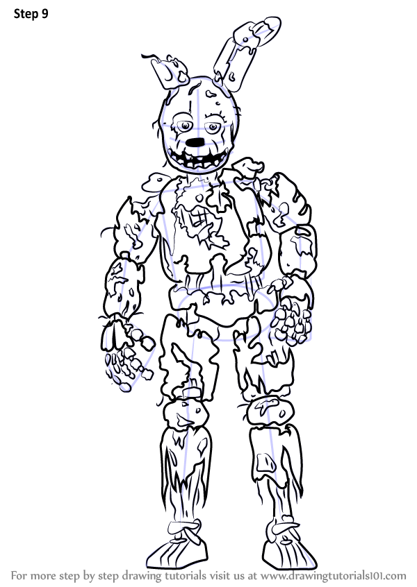 learn how to draw springtrap from five nights at freddy s
