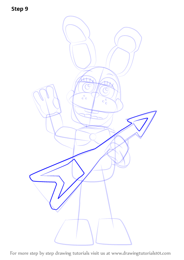 Step By Step How To Draw Toy Bonnie From Five Nights At