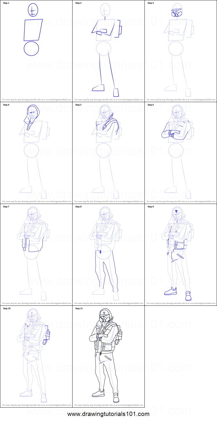 How To Draw Abstrakt From Fortnite Printable Step By Step Drawing