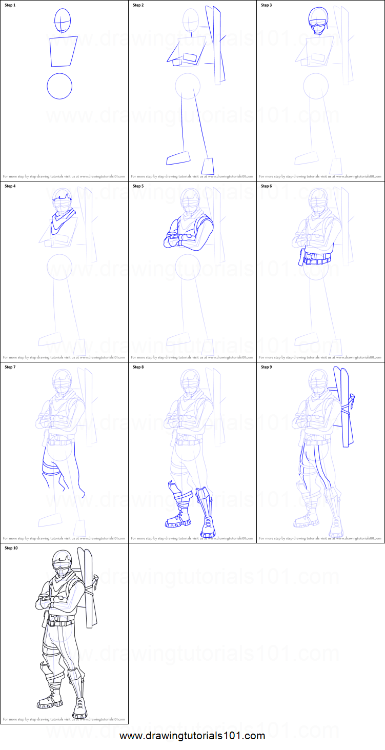 How to Draw Alpine Ace from Fortnite printable step by step