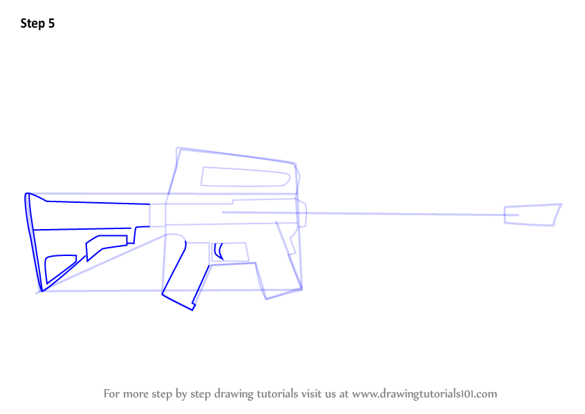 Learn How to Draw Assault Rifle from Fortnite (Fortnite) Step by Step : Drawing Tutorials