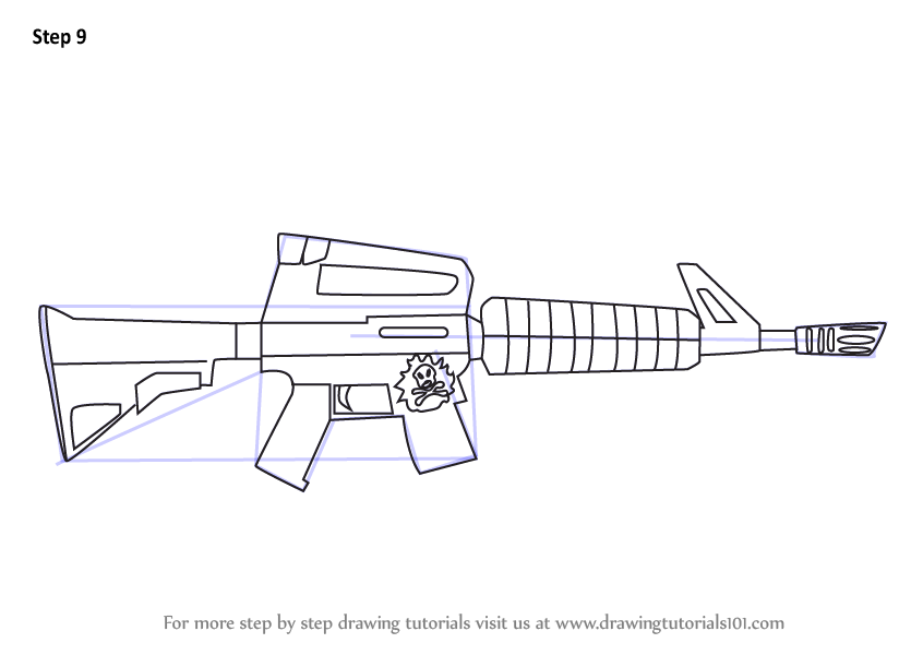 Learn How To Draw Assault Rifle From Fortnite Fortnite Step By