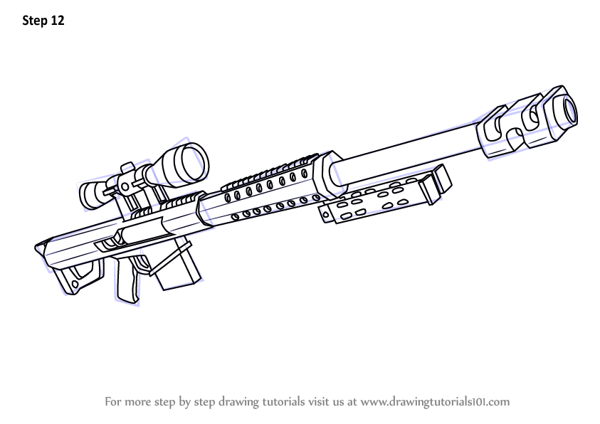 Learn How To Draw Heavy Sniper Rifle From Fortnite