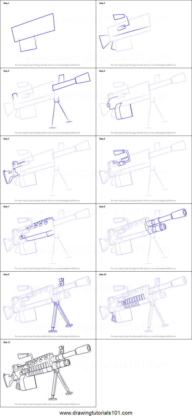 How To Draw Light Machine Gun From Fortnite Printable Step