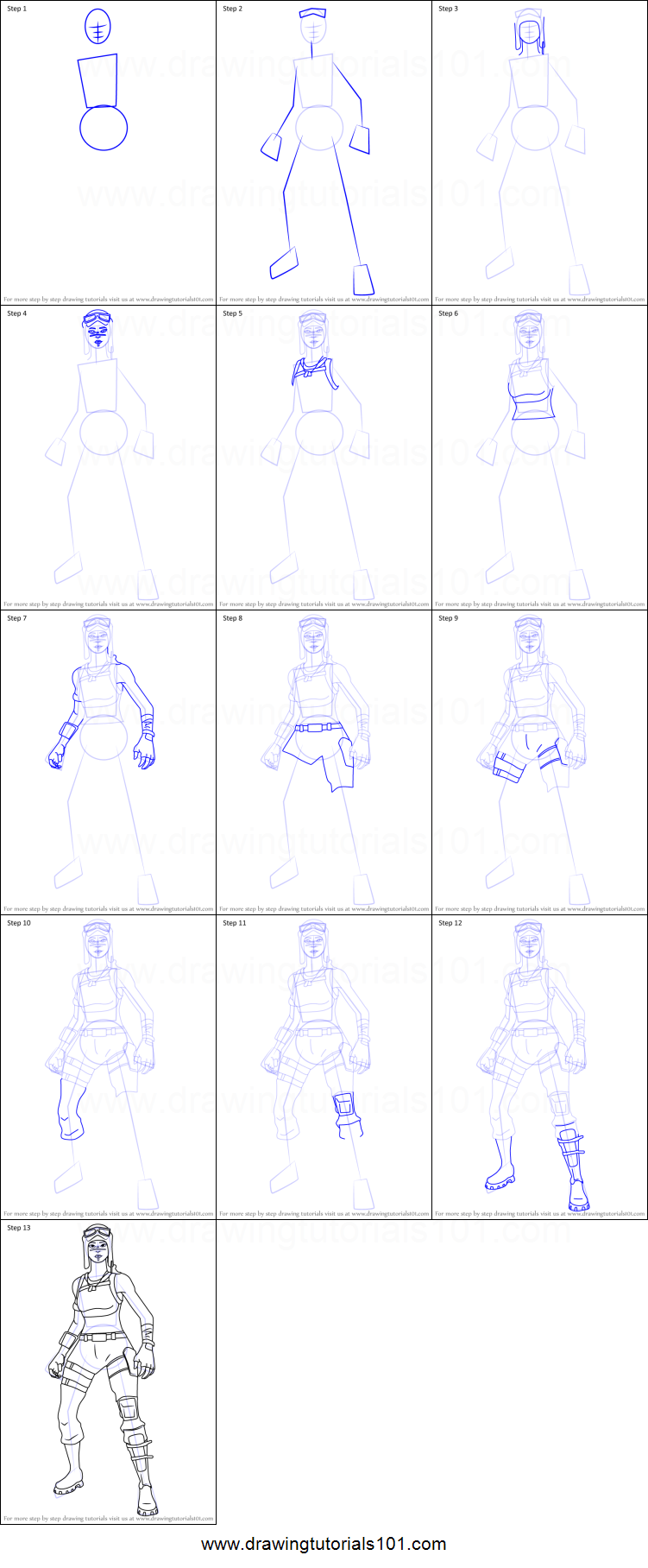 How To Draw Renegade Raider From Fortnite Printable Step
