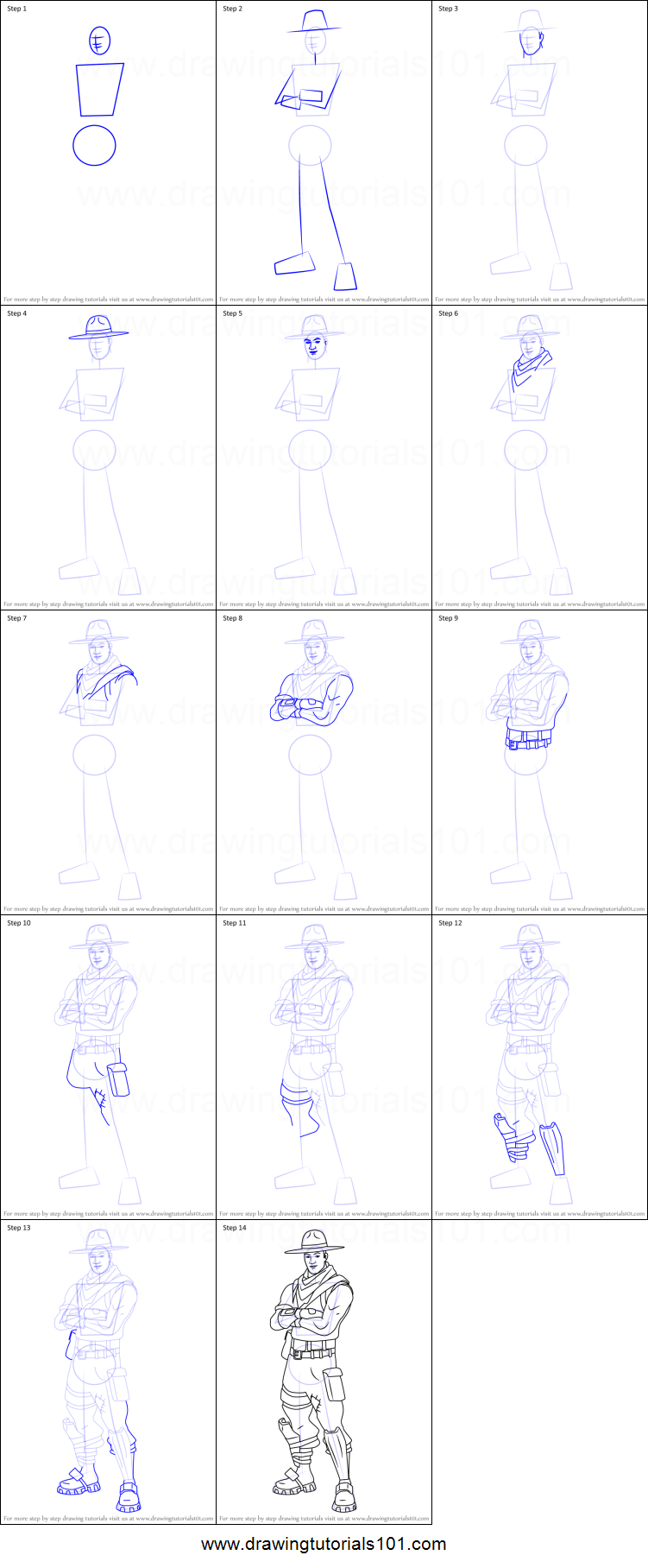 How to Draw Sash Sergeant from Fortnite printable step by