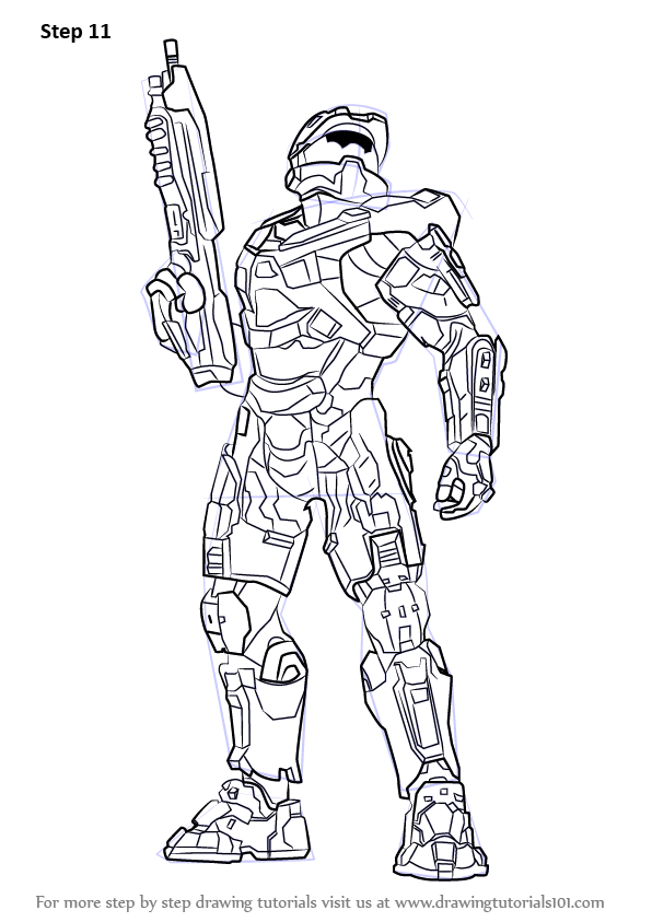 Learn How To Draw Master Chief From Halo Halo Step By