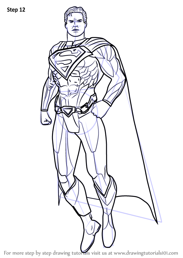 Step By Step How To Draw Superman From Injustice Gods