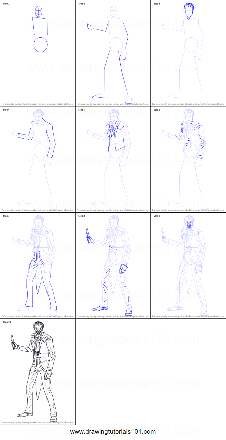 How To Draw The Joker From Injustice Gods Among Us Printable Step By Step  Drawing Sheet