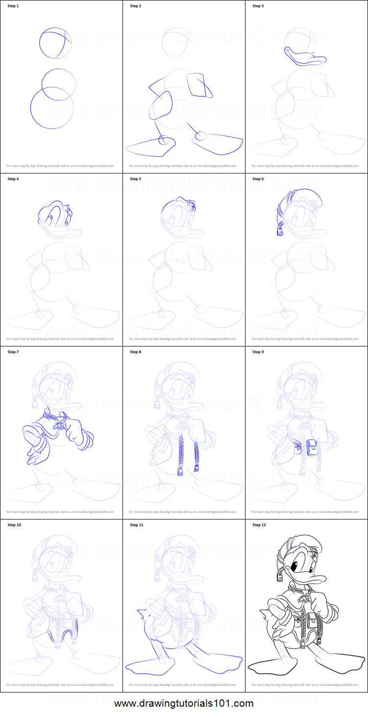 how to draw donald duck from kingdom hearts printable step by step