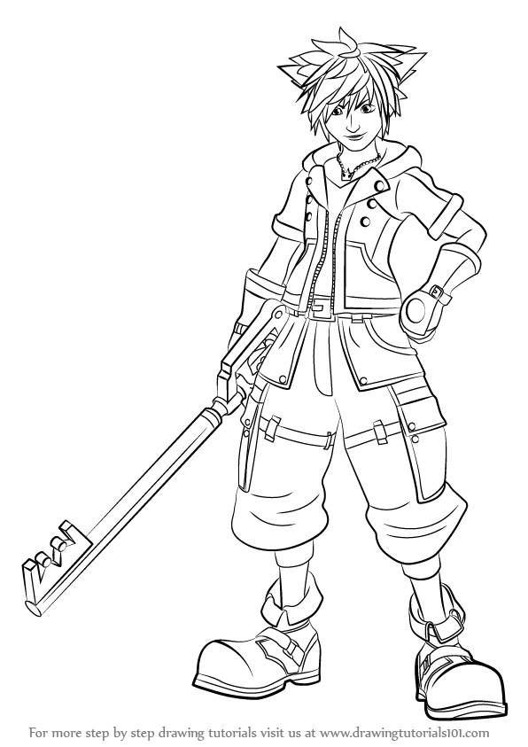 Learn How to Draw Sora from Kingdom Hearts Kingdom Hearts Step