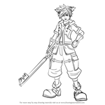 How to Draw Sora from Kingdom Hearts