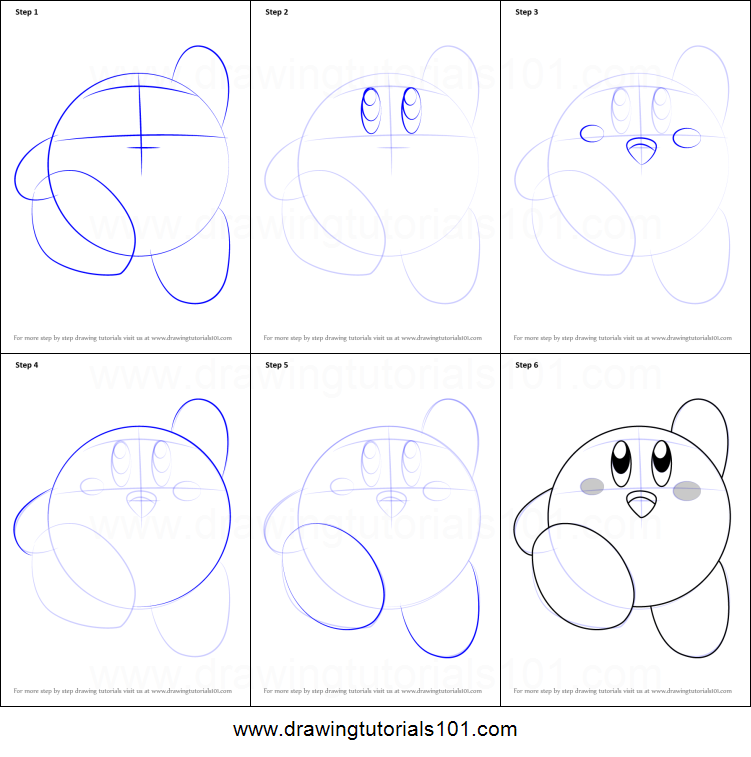 How to draw kirby printable step by step drawing sheet for How to make doodle art