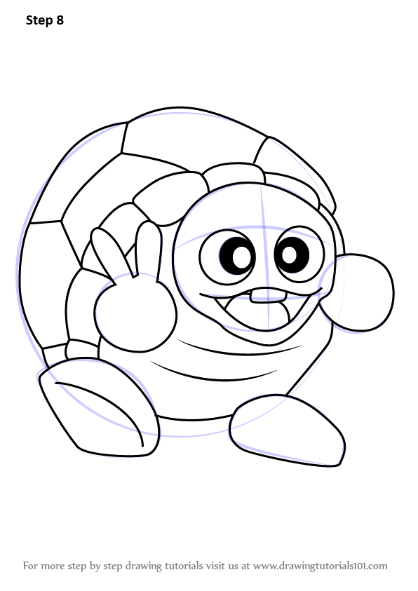 Learn How To Draw Rolling Turtle From Kirby Kirby Step