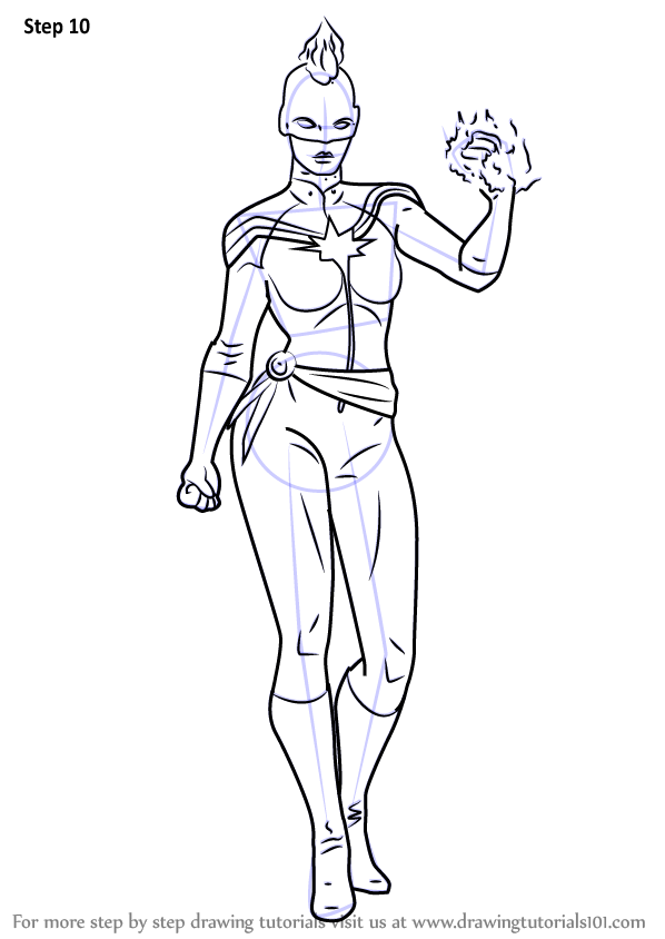 Learn How To Draw Captain Marvel From Marvel Contest Of