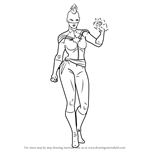 How to Draw Captain Marvel from MARVEL Contest of Champions