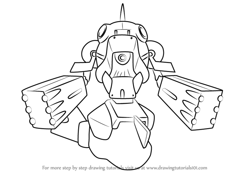 Learn How To Draw Bass Troyer From Medabots Step By Drawing Tutorials