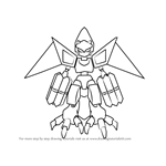 How to Draw Flyfalcon from Medabots