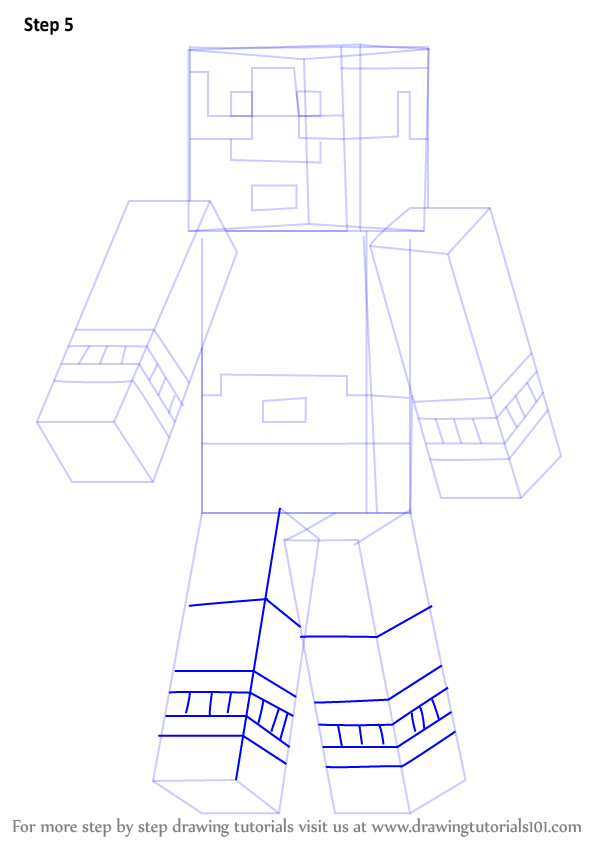 how to draw steve from minecraft step by step