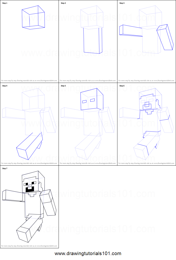 picture regarding Minecraft Steve Printable called How in direction of Attract Steve against Minecraft printable move via phase
